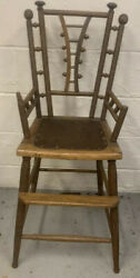 Early Folk Art Antique Rare Child's High Chair Carved Spool Spindle Legs 1800s