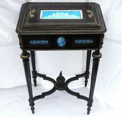 Mxxx Antique 19th Century French Ebonised Wood Jardiniere Cabriole Legs Pottery
