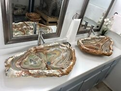 Onyx Stone Sinks /2 Modern Natural Stone Bathroom Irregular Vessel Sinks.