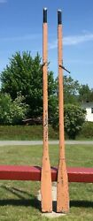 Pair Old Wooden Oars Set 83 W/ Chipped Paint+ Character Paddles Country Decor
