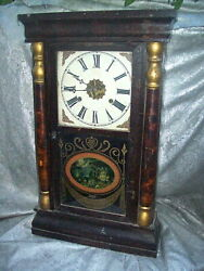 Large 23 Tall Antique Gilbert Clock From Winsted Conn. With Pastoral Scene