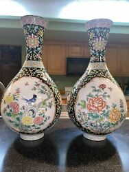 A Pair Very Rear Antiques Hand Painted On Copper Enamel Vases From 1950-1970