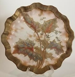 Royal Doulton Brushed Gold Art Nouveau Rust Green Floral Leaves Luncheon Plate A