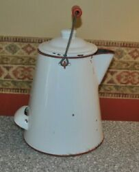 Vintage Cowboy Coffee Pot Enamelware One Gallon With Lid And Back Handle