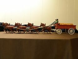 Clydesdale Style Horse And Wagon Cast Iron Cast Iron Toy/display