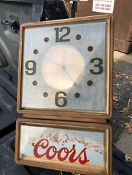 Vintage 1986 Coors Beer Hologram Style Hanging Lighted Clock Sign Very Gd Cond