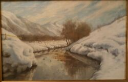 Frederick John Mulhaupt Snow Scene With River Oil Painting Price Reduced