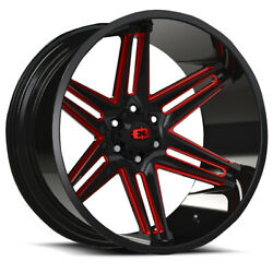 4-new 20 Vision 363 Razor Wheels 20x12 8x170 -51 Black Milled Red Rims