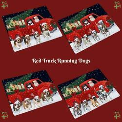 Christmas Express Delivery Red Truck Running Dogs Cats Glass Cutting Board