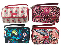 Vera Bradley All in One Crossbody Wallet Moonlight Garden Stitched Heart Vines.. $36.00