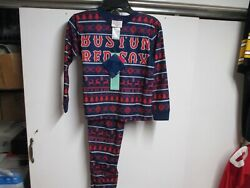 BOSTON RED SOX KIDS 2 PIECE PAJAMA SET SIZE M 5 6 NWT $40 NAVY XMAS PATTERN