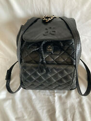Vintage Jay Herbert Quilted Black Leather Backpack Women#x27;s Purse $29.00