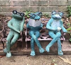 Vintage Cast Iron Frogs On A Bench And Chair Doorstop/garden Art Painted Rare