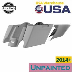 Unpainted Extended Bags Stretched Saddlebag Side Cover Rear Fender F/ 14+ Harley