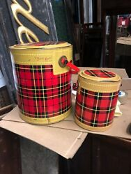 Vintage 50's The Skotch Kooler 4 Gallon Deluxe And Kaddy By Hamilton Red Plaid