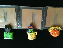 AVON VINTAGE HALLOWEEN MAGNETS SET OF 3 1980#x27;S NEW IN OPENED BAGS