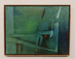 Vintage 1963 Robinson Murray Mid-century Abstract Painting Boston Expressionist