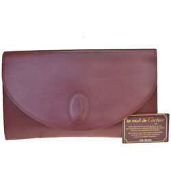 Authentic Must De Logos Clutch Hand Bag Leather Bordeaux Italy 02md117