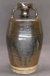 Chinese Song Dynasty Black-brown Glaze Two-handled Vase