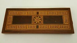 Vintage Inlaid Wood Marquetry Cribbage Board Antique