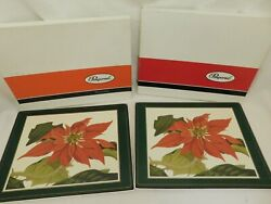 R-- Pimpernel Poinsettia Placemats Set Of 8 In Boxes England Hard Cork Backed