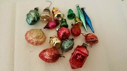 Lot Of 17 Vintage Glass Christmas Ornaments Small Strawberry Etc