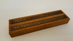 Vintage Ixl Maple Brass Cribbage Board Signed Ixl Mfma Hermansville