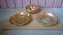 3 Pc Lct Gold Iridescent Favrile Art Glass Finger Bowl Underplates 8918