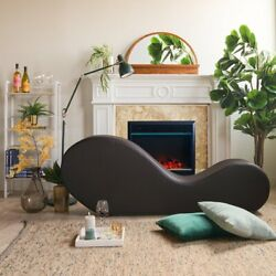 Divano Roma Furniture Modern Bonded Leather Chaise Lounge Yoga Chair Black