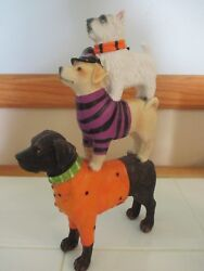 Nwt 12 Halloween 3 Stacked Dogs Figurine Statueblack Lab Terrier Witch Hats