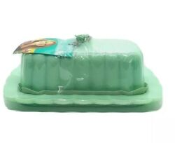 Pioneer Woman Butter Dish Jade Jadeite Milk Glass Timeless Beauty With Lid New