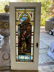 Beautiful Antique German Stained Glass Door Of Jesus From A Closed Church - Dg1