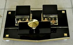 Vtg. French Deco Black Glass And Brass 1950's Crystal Inkwell Desk Set