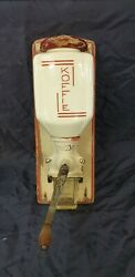 Old Dutch Art Deco Pede Red Wall Mounted Coffee Grinder Ca.1930
