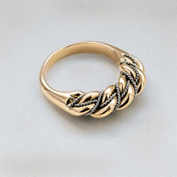 Latvian Ethnic 14k Yellow + 14k White Gold Doubletwisted Namejs Ring From Latvia