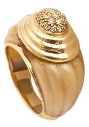 French 1950 Art-deco Bakelite Cocktail Ring In 18 Kt Gold With Diamonds Nice1