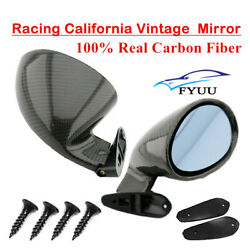 2x Real Carbon Fiber Vintage Sport Racing Car Side Wing Mirrors Bullet Universal