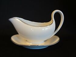 Wedgwood China - Doric Platinum - Gravy Boat With Attached Underplate