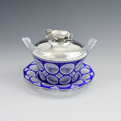 Early Victorian Blue And White Overlay Glass Butter Dish Silver Cow Cover