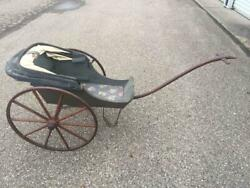 Antique Vintage Large Wooden Baby Doll Carriage Pram Stroller Buggy Cloth Top