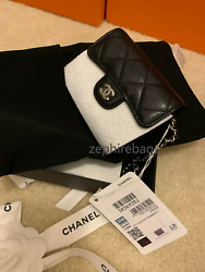 ❤Brand New Chanel 2020 classic flap wallet on the chain Black silver $1630.00