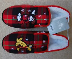 Disney Mickey And Pluto Holiday Plaid Warm Slippers Faux Sheepskin Lining New