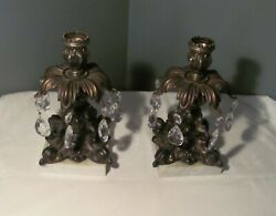 2 Antique Victorian Art Nouveau Candle Holders Brass And Marble Base 7 Prisms Each