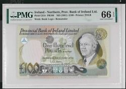 Gem Unc Pmg 100 Pounds 1981 Provincial Bank Of Ireland Ltd. Northern Andpound100 P251r