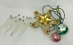 Vintage Christmas Lot Icicles Glass Balls Star Tree Topper Gold Foil Tinsel