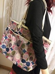 Coach Signature Scarf Print Tote Bag With Matching Coach Scarf Print Wallet $62.00