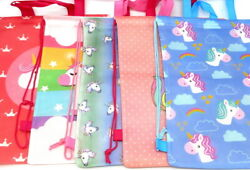 5 PC Large UNICORN Tote Gift Bag Set Colorful Reusable Gift Toy Play Tote Sack $16.00