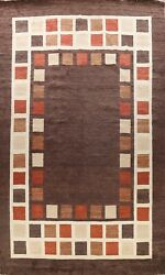 Contemporary Geometric Gabbeh Oriental Area Rug Palace Size Hand-knotted 12x18