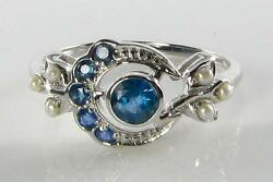 Lovely 9ct 9k White Gold Sri Lankan Blue Sapphire And Pearl Sun Moon Crest Ring