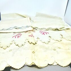 Vintage Lot Of Linens Dresser Scarves/table Runners Embroidery/scallop 4 Items